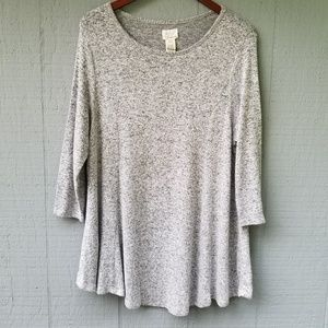 Andrea Jovine Marled Knit Long Sleeve Swing Top XL